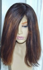 Sloping bob lace wig with off-centre parting