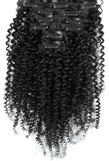 African American Hairpiece: Clip In Hair Extensions - Afro Curl