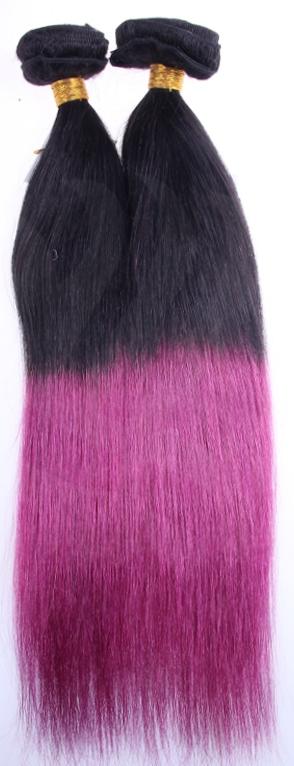 Yaki Straight Clip On Hair Extensions - Dip-Dye