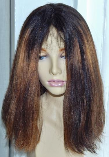 Custom lace wigs: yaki-striaght bob, dark brown with blonde highlights