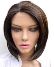 Custom lace wigs: dark brown bob with colour 27 highlights