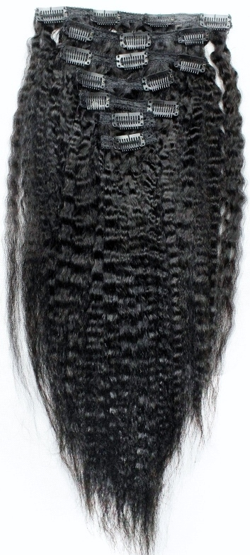 Kinky Straight Clip-on Hair Extensions