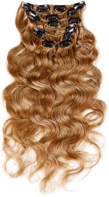 Dark Blonde Wavy Clip In Hair Extensions 01