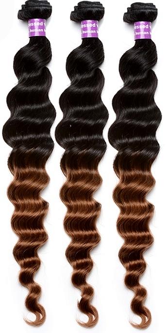 Dip-dye water wave weave hair