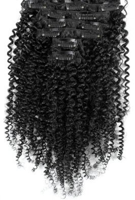 Loose Afro Curl Black Clip On Hair Extensions