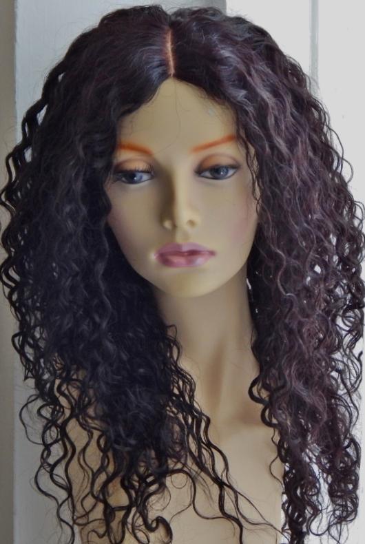 Brownish Black Auburn Curly Lace Wig