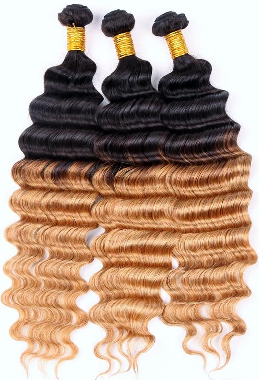 Dip-dye deep wave weave hair
