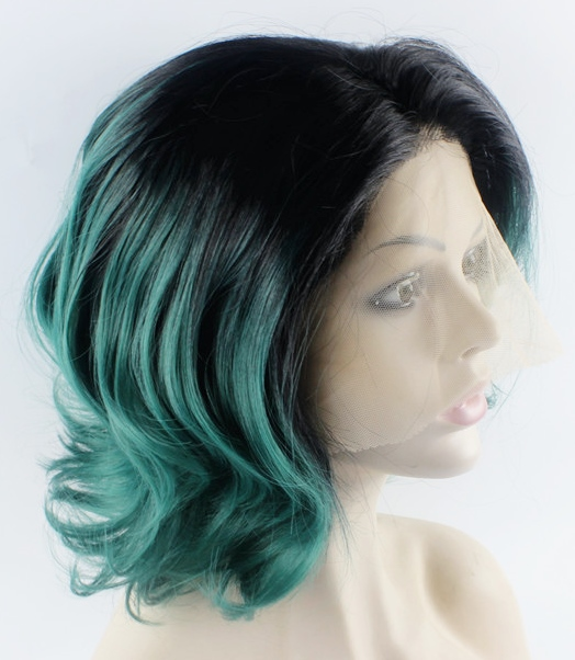 Wavy ombre green lace front wig bob