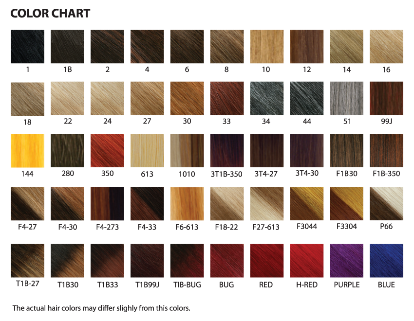 Synthetic Lace Front Wig Colour Chart