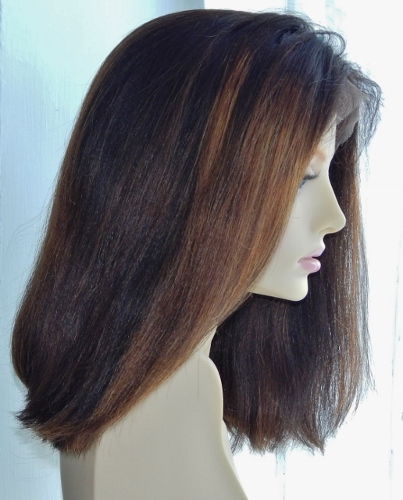 Custom lace wigs: yaki-straight bob, dark brown with blonde highlights