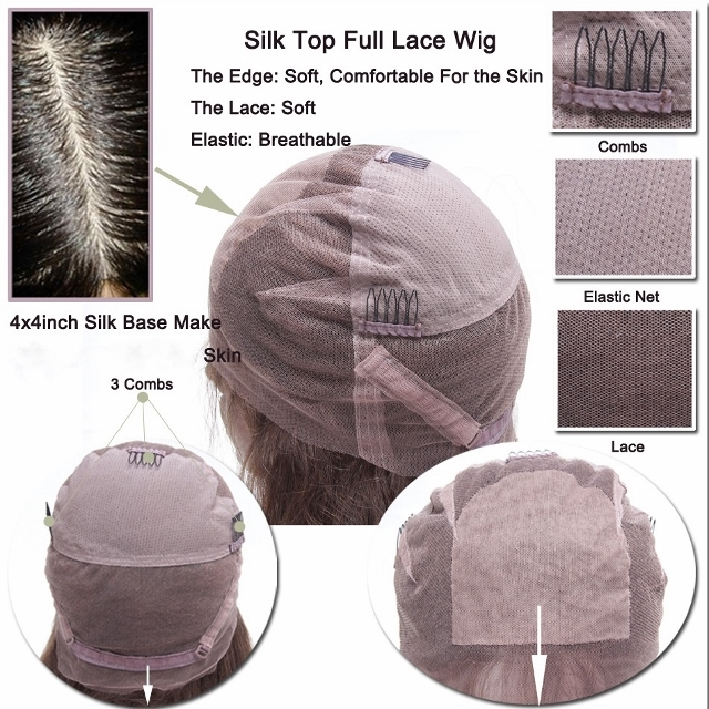Full lace cap wig with stretch, combs and adjustable straps