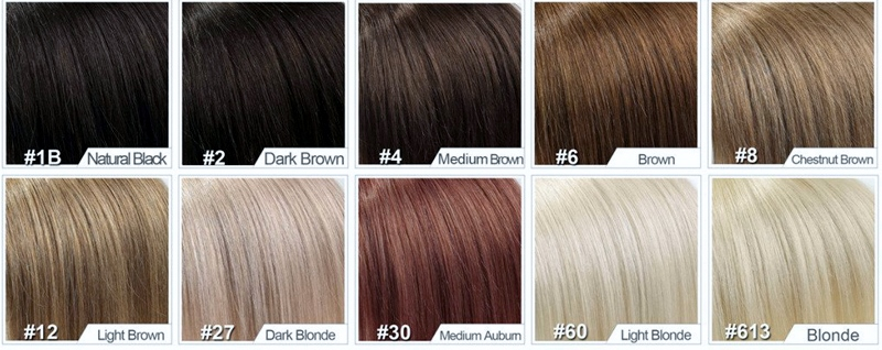 Range of colours used in making dark blonde lace front wigs
