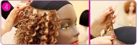 Make your own two-tone wig step 4 - adding tracks in a U shape around the head
