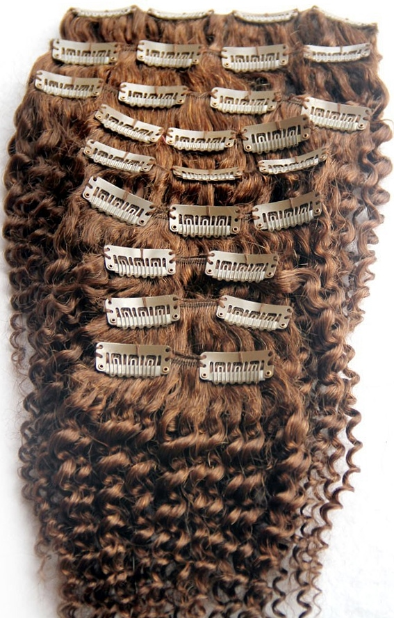 Medium Brown Afro Curl Clip In Hair Extensions