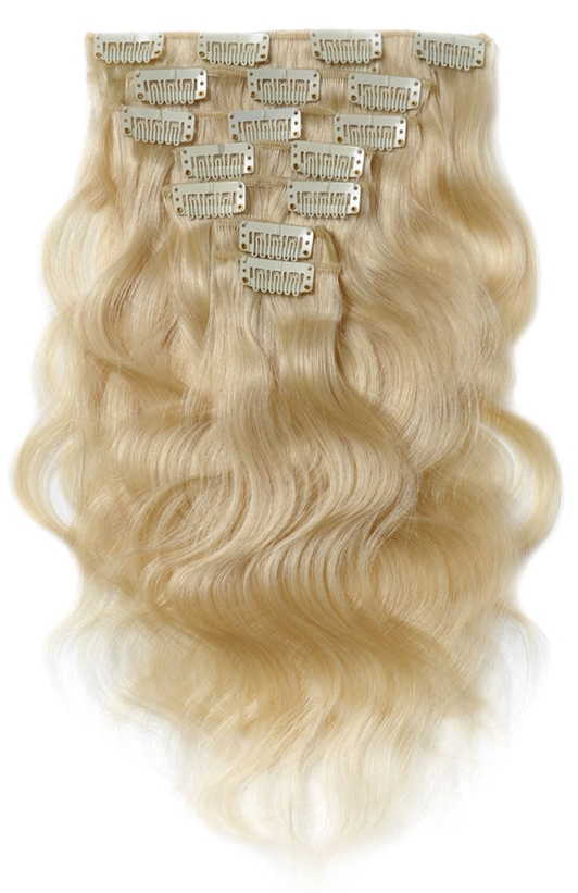 Blonde Wavy Clip In Hair Extensions