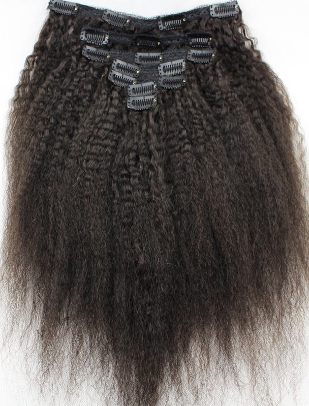 Kinky Straight Clip-on Hair Extensions - Brown