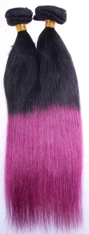 Yaki Straight Clip On Hair Extensions - Dip-Dye