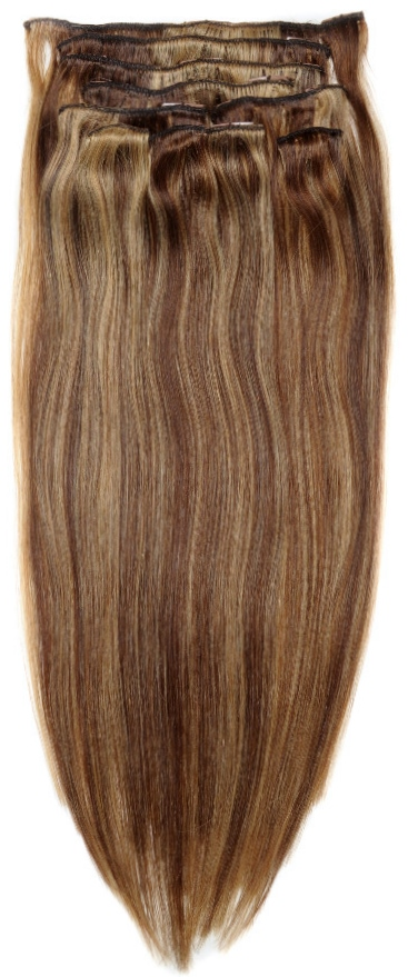 Light Yaki Straight Clip In Hair Extensions With Highlights
