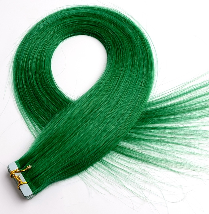 Silky Straight Green Tape In Hair Extensions