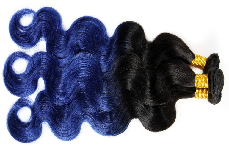 Blue Hair Extensions for Weaving