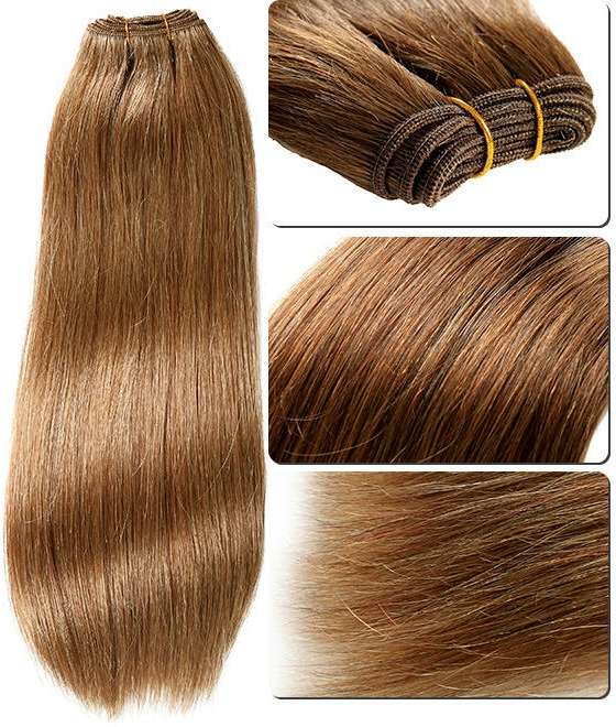 Silky Straight Honey-Brown Weave Hair