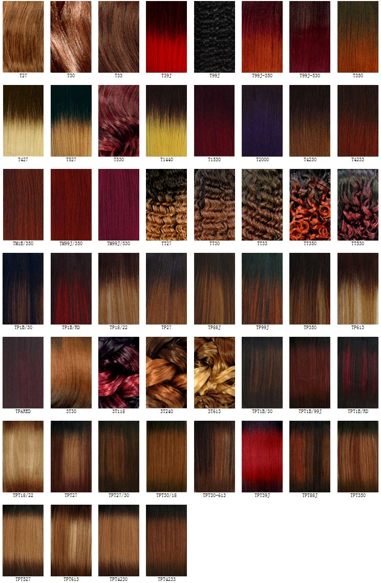 Hair Colour Chart For Weaves, Wigs and Hair Extensions
