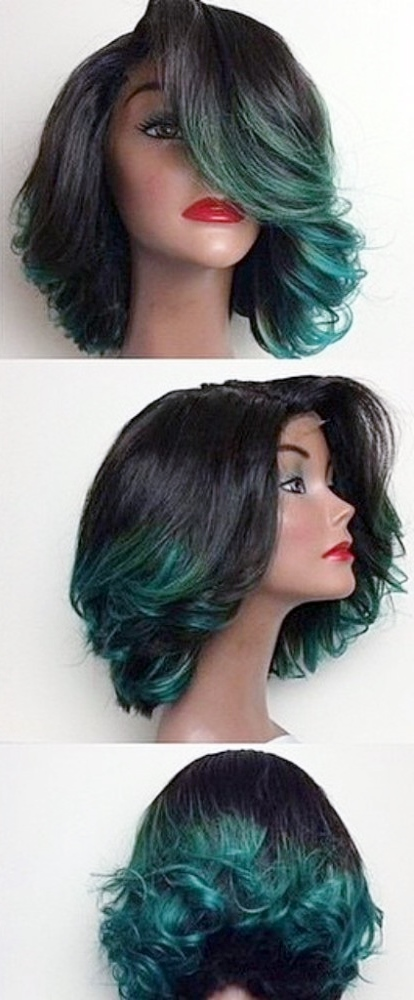 Bob cut lace wig with off-centre parting and waves
