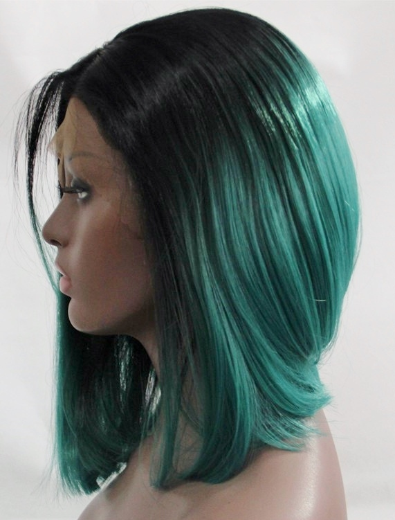 Sloping bob lace front wig