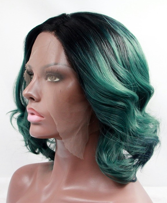Wavy bob, green lace front wig