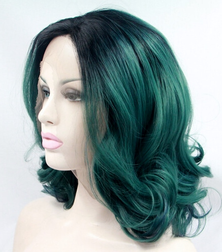 Wavy ombre green lace front wig