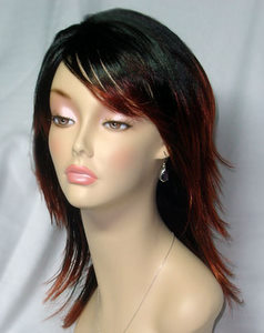 Red Tipped Black  Wig