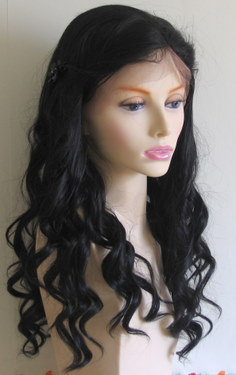 Loose drop curl synthetic lace wig