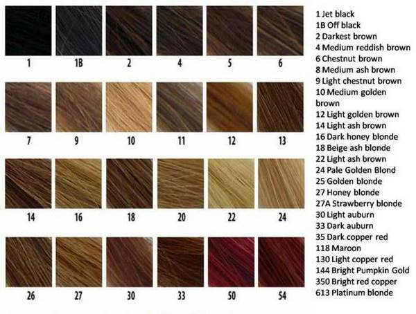 The Wigs And Hair Extensions Colour Guide